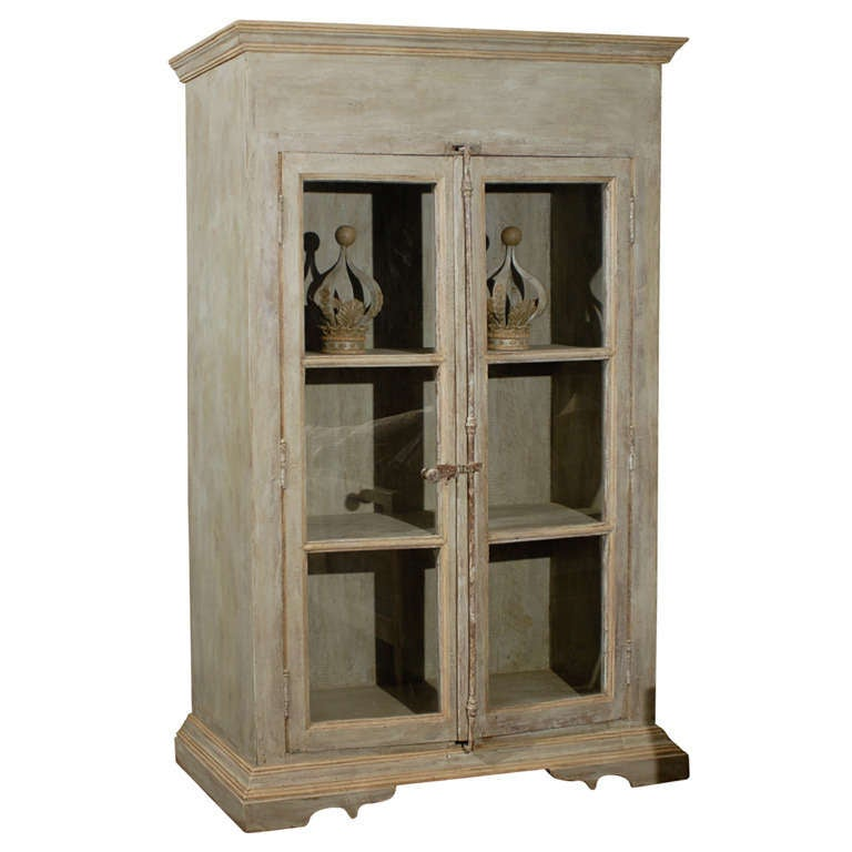 Wood Bookcases With Glass Doors ~ A painted wooden bookcase with glass doors at stdibs