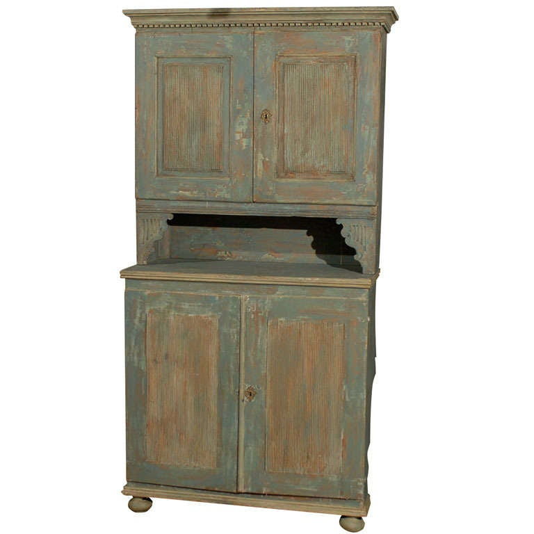 Swedish 18th Century Late Gustavian Cabinet with Original Paint For Sale