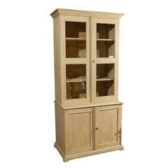 19th Century Swedish Painted Wood Glass Door Cabinet/Bookcase
