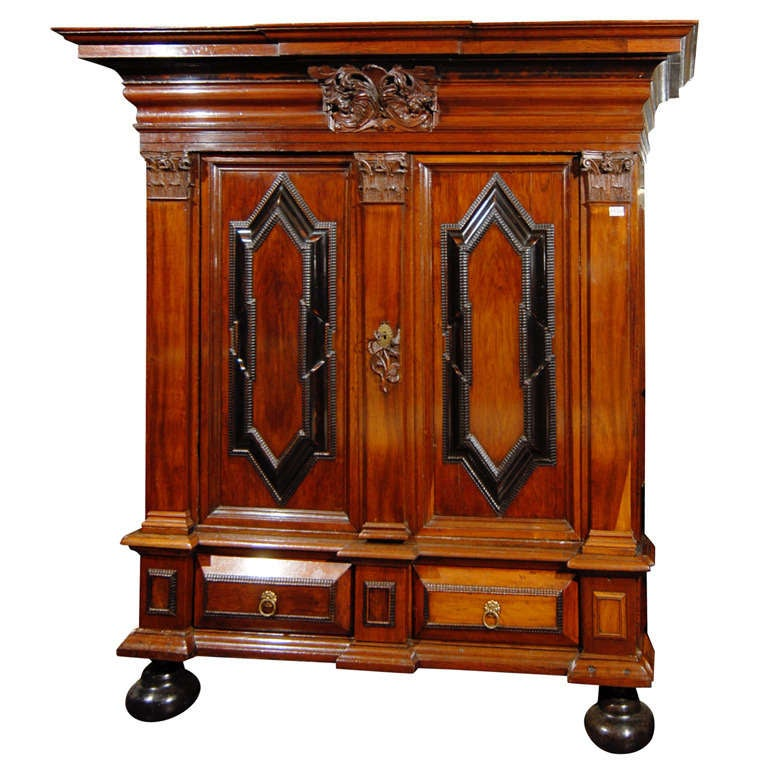 Swedish 18th Century Period Baroque Cabinet with Corinthian Pilasters