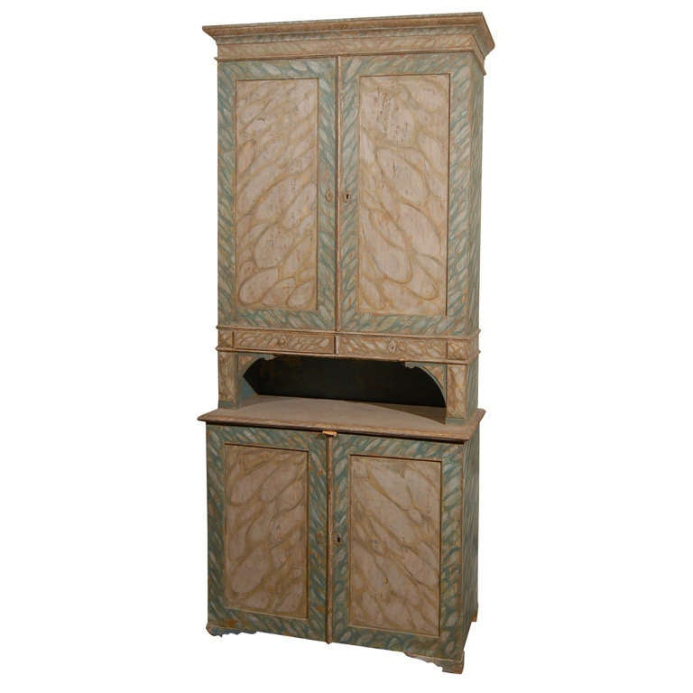 19th Century Swedish Painted Faux-Marble Four-Door Cabinet