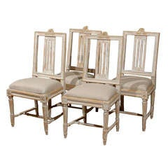 Set of Four Swedish Early 19th Century Period Gustavian Side Chairs