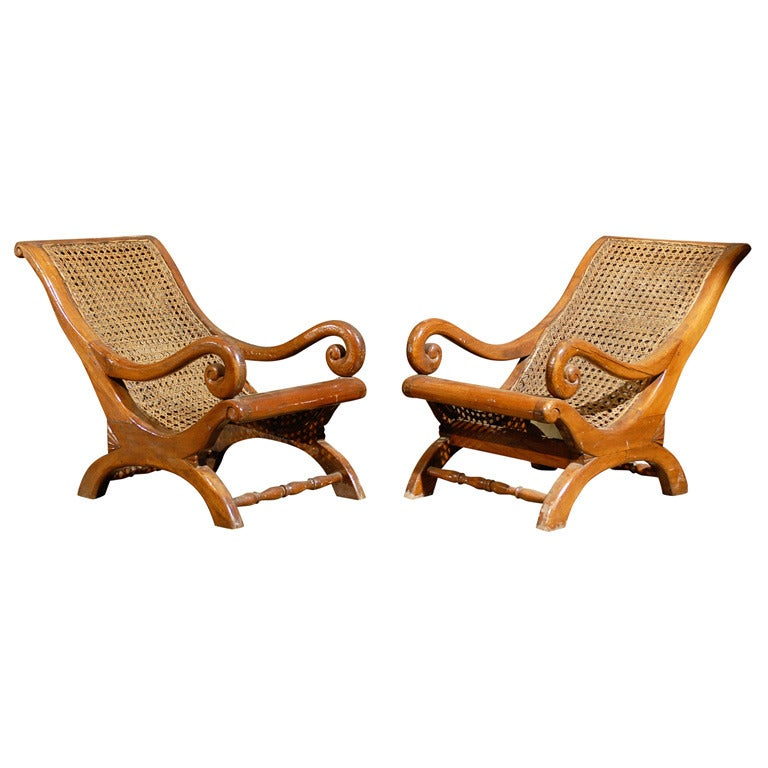 Pair of 19th Century British Colonial Child's Chairs For Sale
