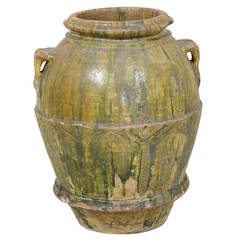 18th Century Large Italian Terracotta Jar with Lovely Rich Green Poured Glaze