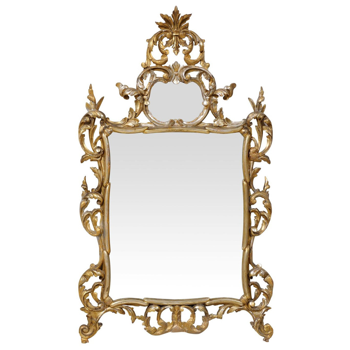 Early 20th Century Italian Gold and Silver Gilt Mirror