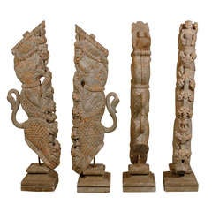 Collection of Hand-Carved 19th Century Temple Struts from India