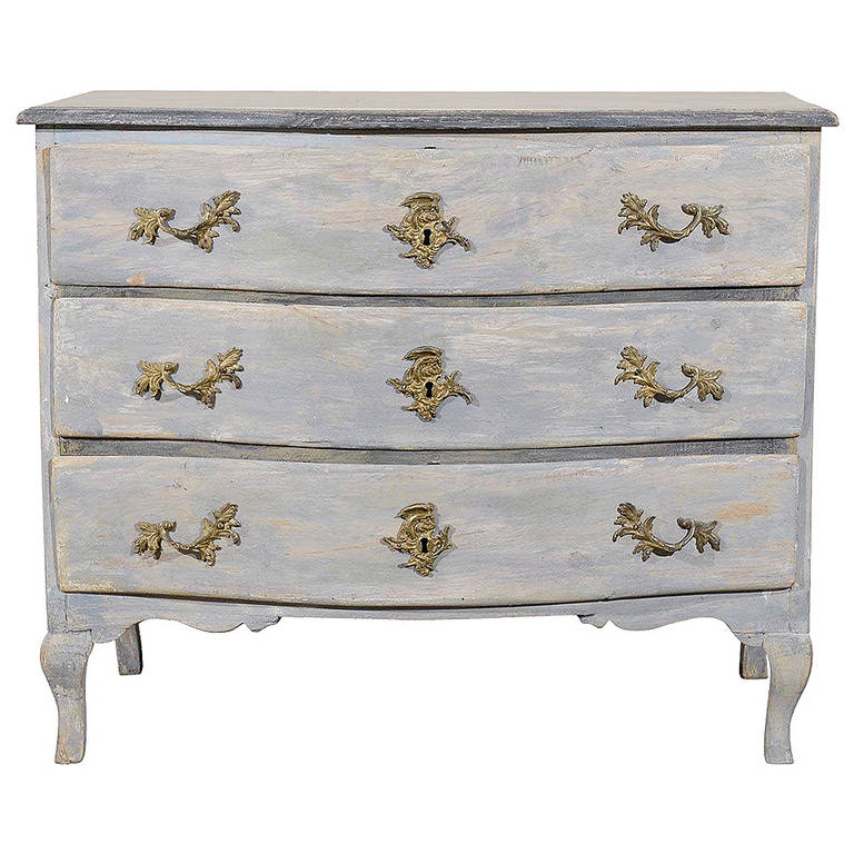 18th Century Period Rococo Painted Wood Three-Drawer Chest