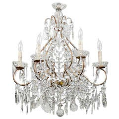 Italian Vintage Six-Light Crystal Chandelier With Scrolled Arms