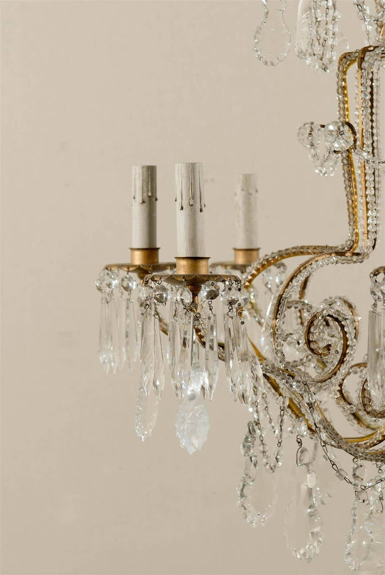 Pair of Italian Eight-Light Crystal Chandeliers In Good Condition For Sale In Atlanta, GA