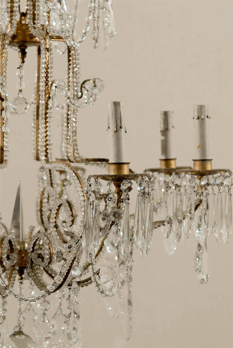 Mid-20th Century Pair of Italian Eight-Light Crystal Chandeliers For Sale