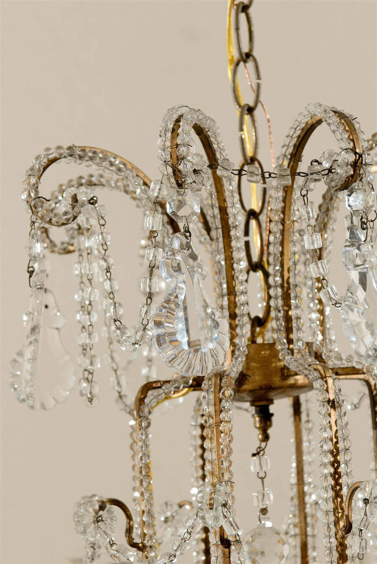 Pair of Italian Eight-Light Crystal Chandeliers For Sale 2