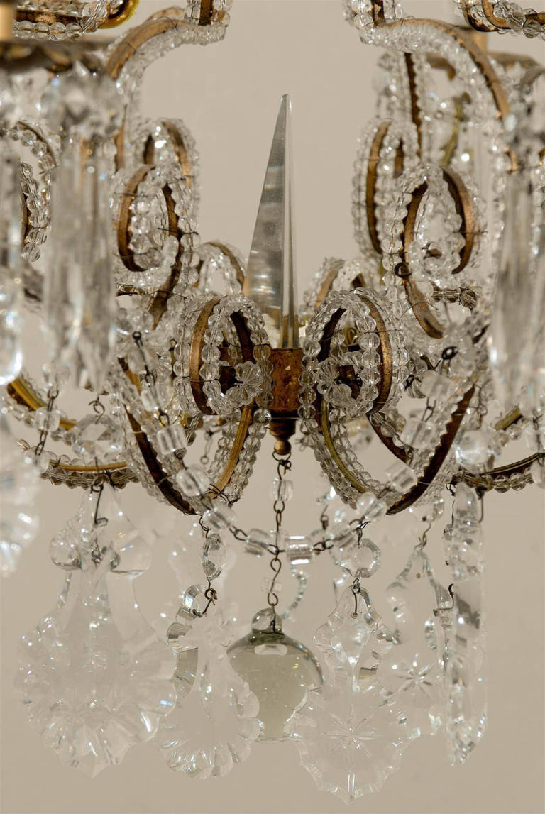 Pair of Italian Eight-Light Crystal Chandeliers For Sale 3