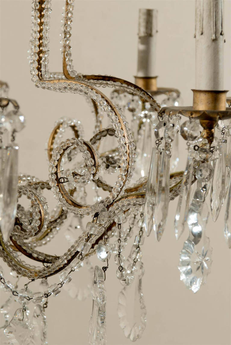 Pair of Italian Eight-Light Crystal Chandeliers For Sale 4
