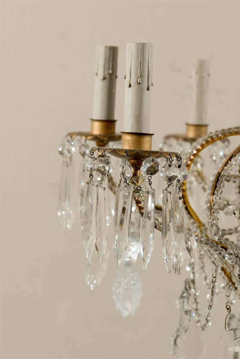 Pair of Italian Eight-Light Crystal Chandeliers For Sale 5