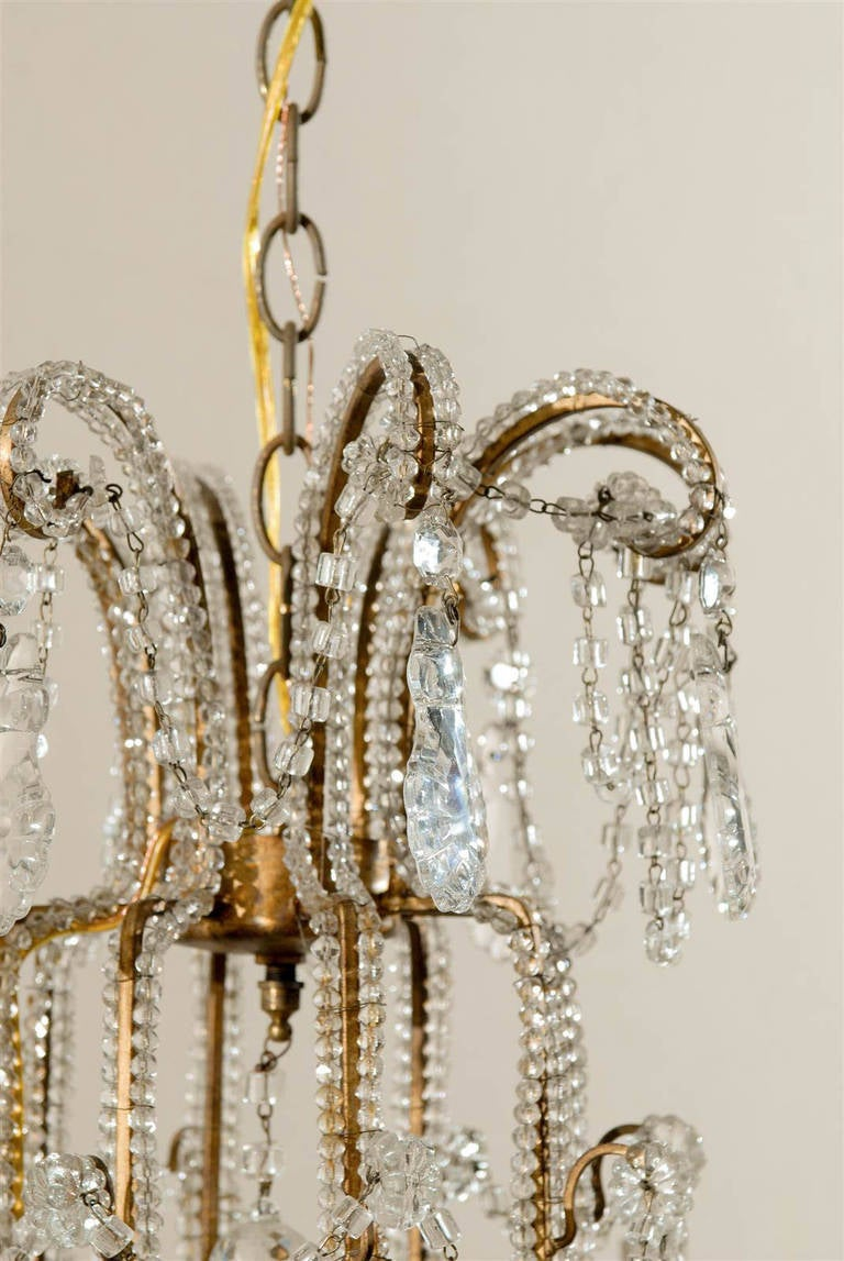 Pair of Italian Eight-Light Crystal Chandeliers For Sale 6