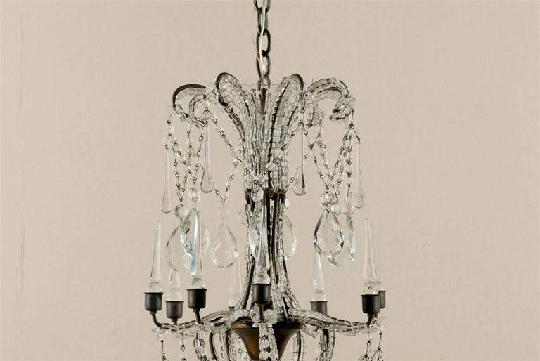 Italian Eight-Light Crystal Chandelier with Elegant Crystal Waterfall Top  In Good Condition For Sale In Atlanta, GA
