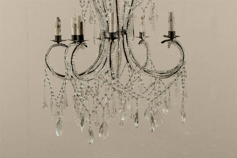 Italian Eight-Light Crystal Chandelier with Elegant Crystal Waterfall Top  For Sale 1