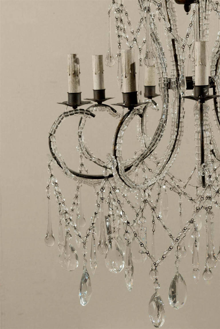 Italian Eight-Light Crystal Chandelier with Elegant Crystal Waterfall Top  For Sale 3