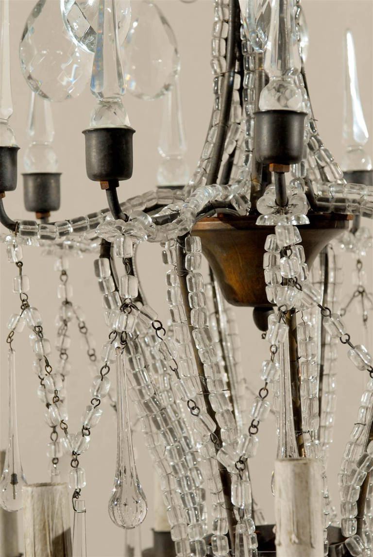 Italian Eight-Light Crystal Chandelier with Elegant Crystal Waterfall Top  For Sale 4