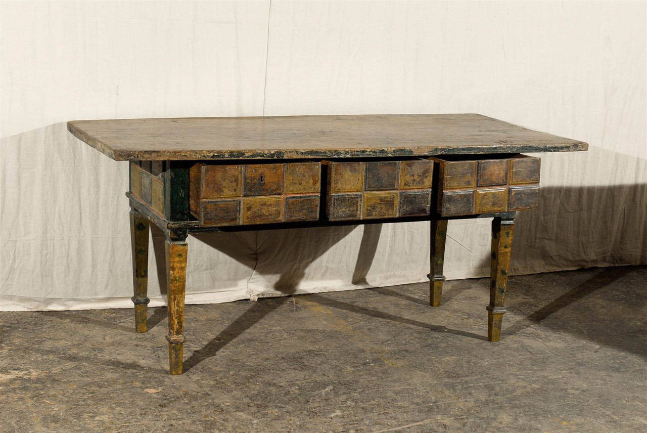 19th century spanish painted wood console table for sale for Painted foyer tables
