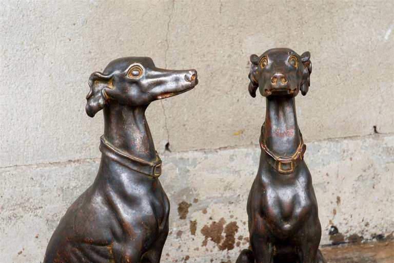 Pair of Italian Greyhound Dogs Sculptures 4