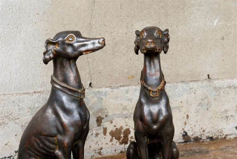 Pair of Italian Greyhound Dogs Sculptures 7