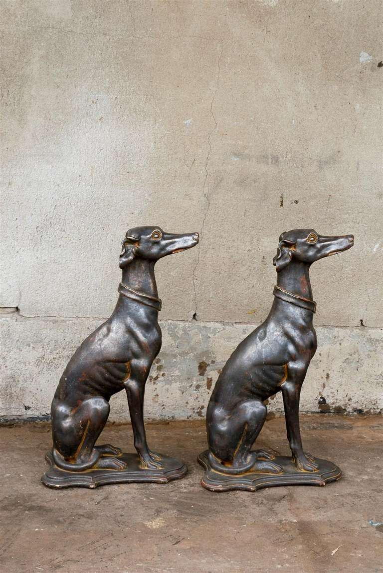 Pair of Italian Greyhound Dogs Sculptures 8