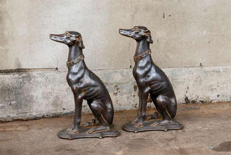 Pair of Italian Greyhound Dogs Sculptures 9