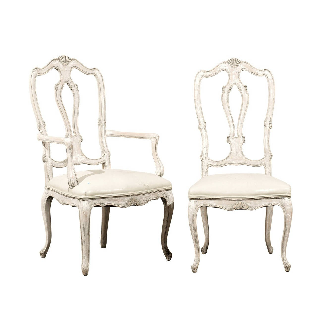 Set Of 12 Italian Style Painted Wood Dining Chairs With