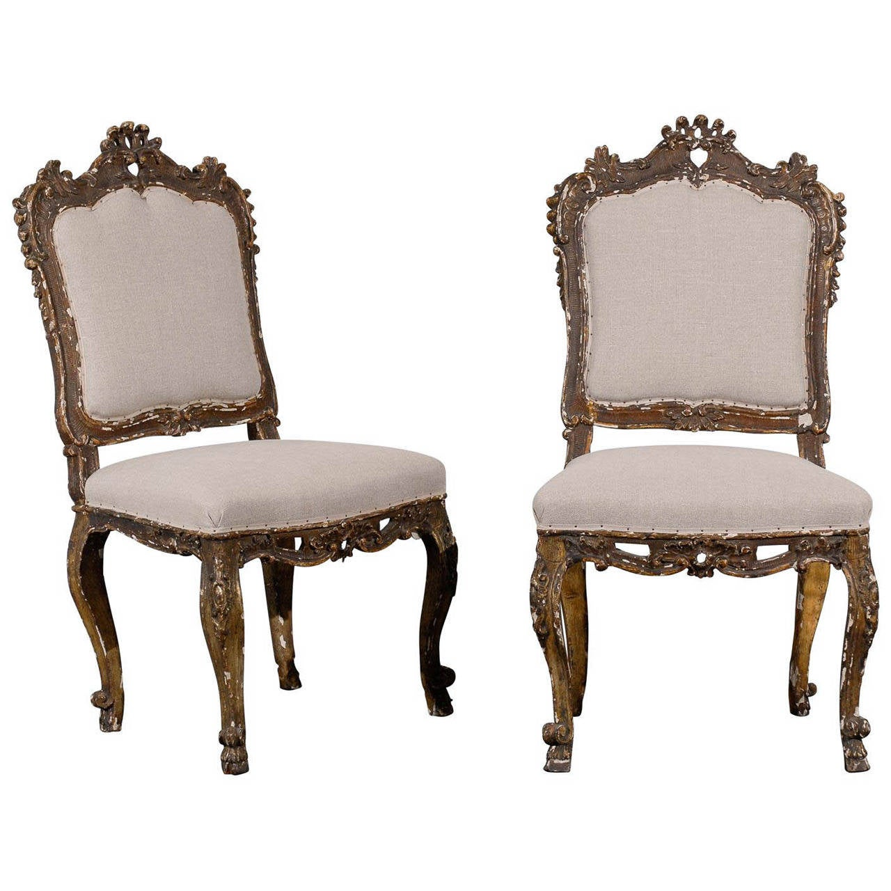 Nice Pair Of Italian Ornate, 18th Century Venetian Style Side Chairs With Nice  Aging For Sale