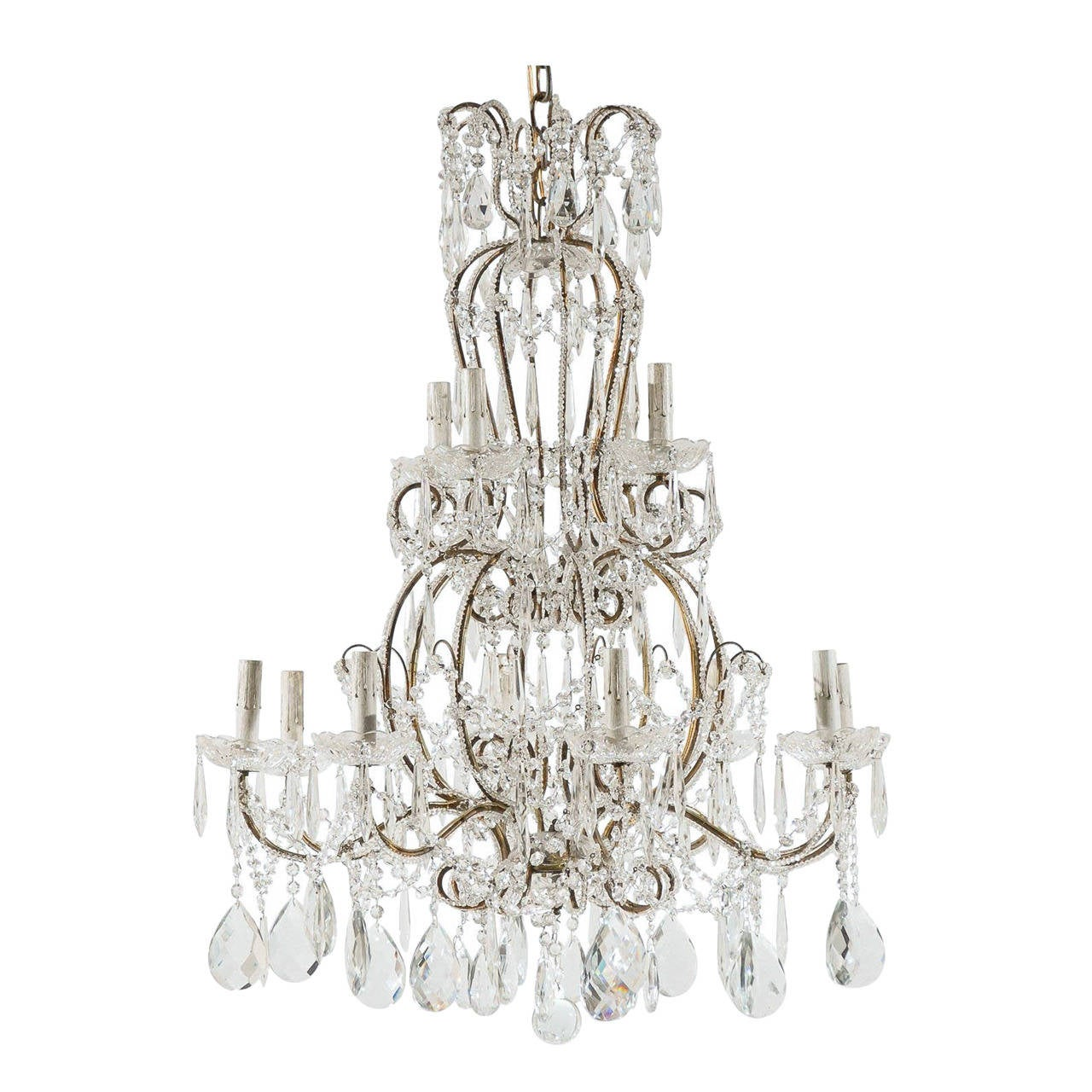 Italian Vintage twelve-Light Crystal Chandelier with Scroll Arms
