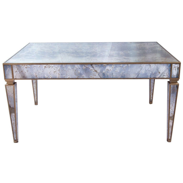 Gold Dining Tables ~ Italian gold veined mirrored dining table at stdibs