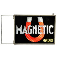 Rare Double Sided Reverse Painted Glass Sign Magnetic Radio