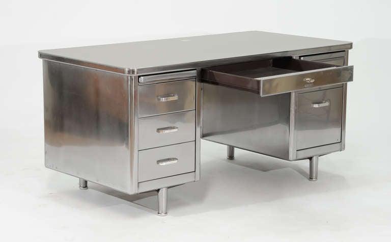 Vintage Steelcase Double Bank Tanker Desk At 1stdibs
