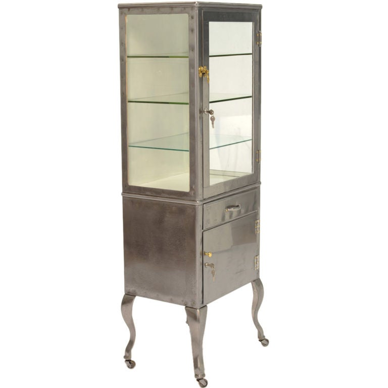 Vintage Medical Cabinet Vitrine On Cabriel Legs At 1stdibs