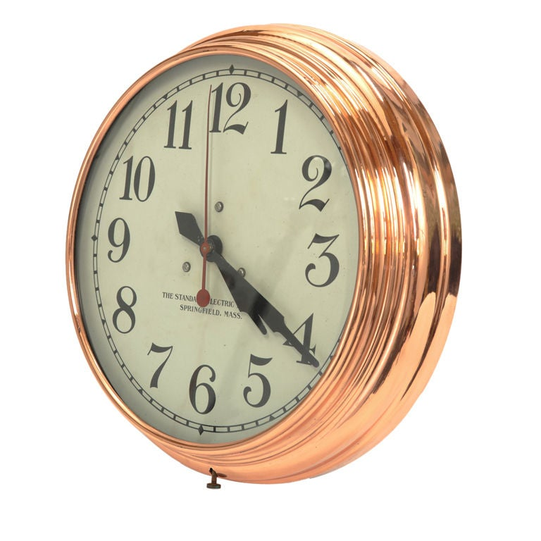 copper wall clock by standard electric time company at 1stdibs. Black Bedroom Furniture Sets. Home Design Ideas
