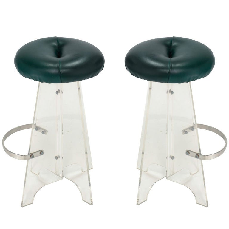 A Pair Of Lucite Bar Stools At 1stdibs