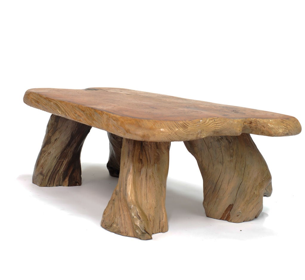 Rustic Slab Wood Coffee Table Bench: Rustic Burl Root Table With Slab Top At 1stdibs