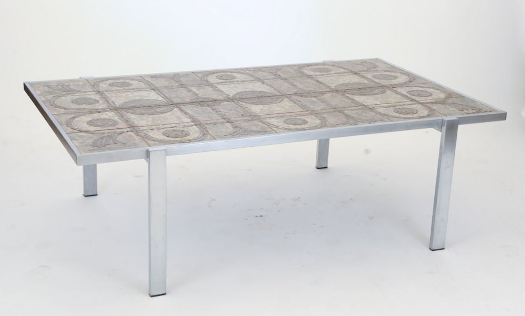 Tile top cocktail table by ox art at 1stdibs for Tile top coffee table