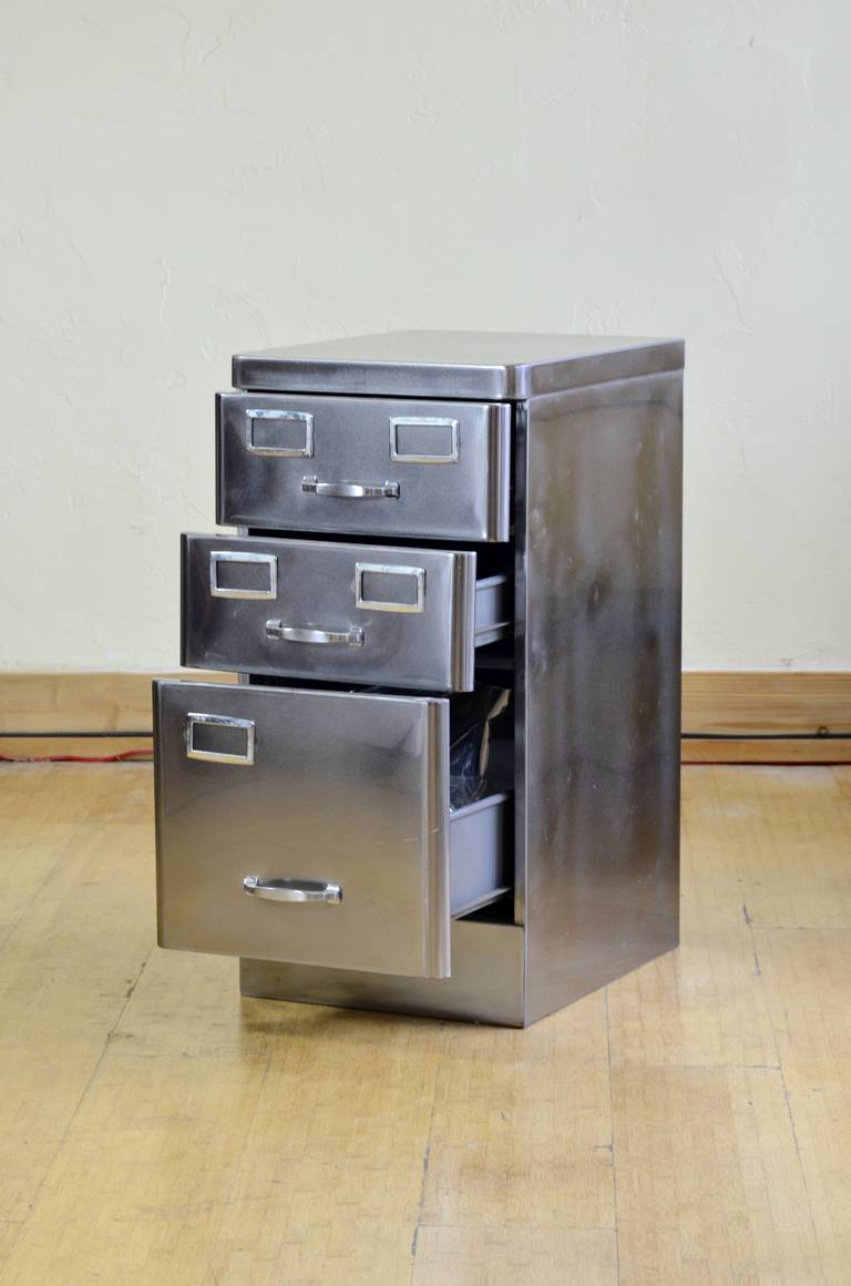 Polished Steel Combo File Cabinet At 1stdibs