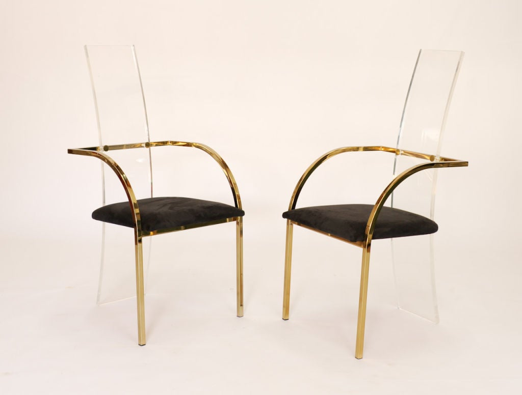 A Set Of Eight Glam Lucite And Brass Dining Chairs At 1stdibs