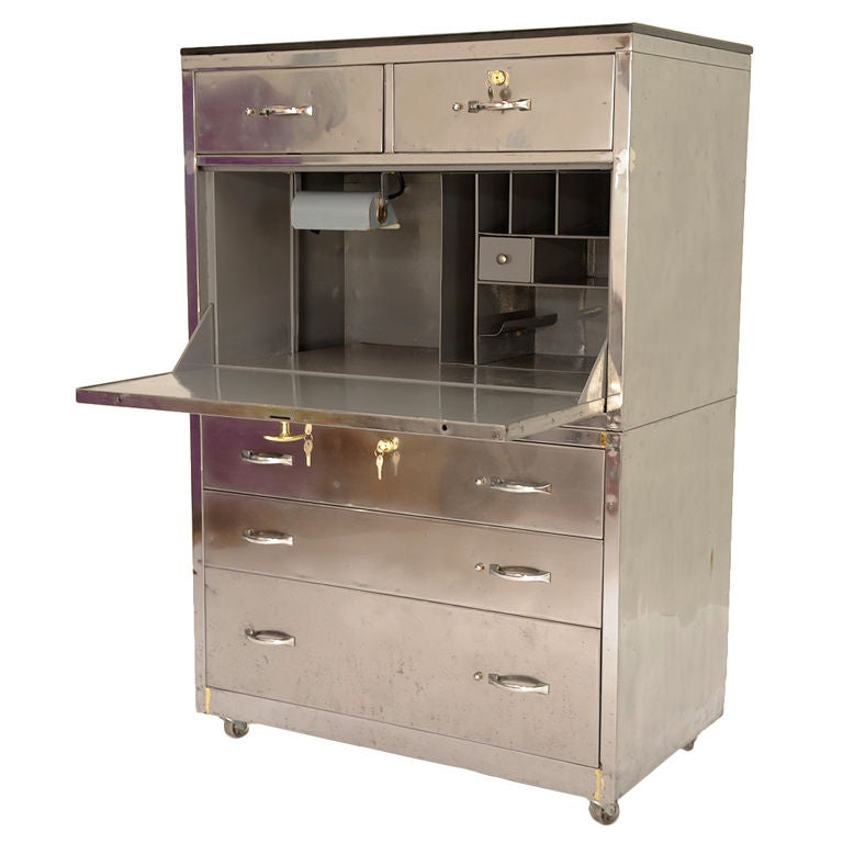 Industrial Polished Steel Secretary Desk at 1stdibs