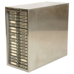 Polished Steel Photo Filing Cabinet thumbnail 1