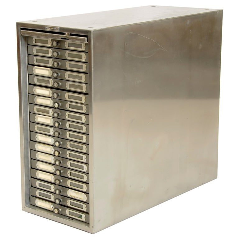 Polished Steel Photo Filing Cabinet