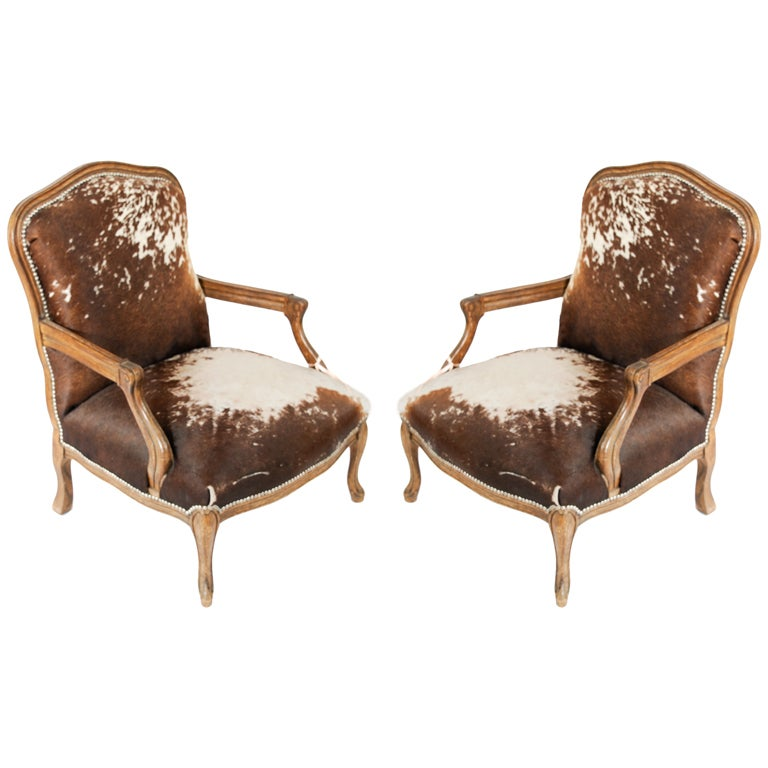 Pair Of Cowhide Queen Ann Chairs At 1stdibs