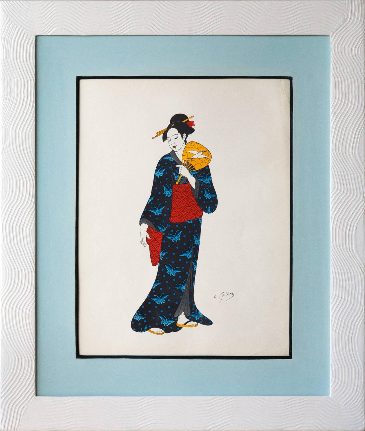 Ten 1930s Framed Japanese Costume Prints In Art Deco