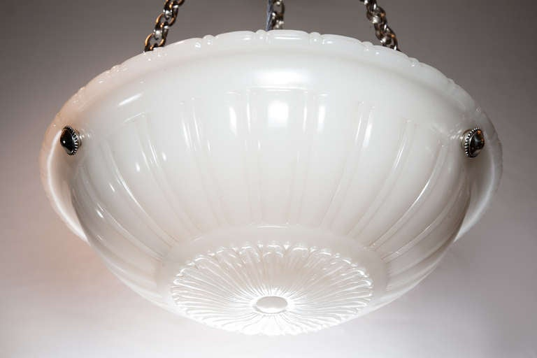 Milk Glass and Nickel Hanging Light at 1stdibs