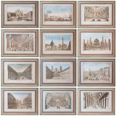 Set Of Twelve French 18th Century Vue D'Optiques In Painted Frames