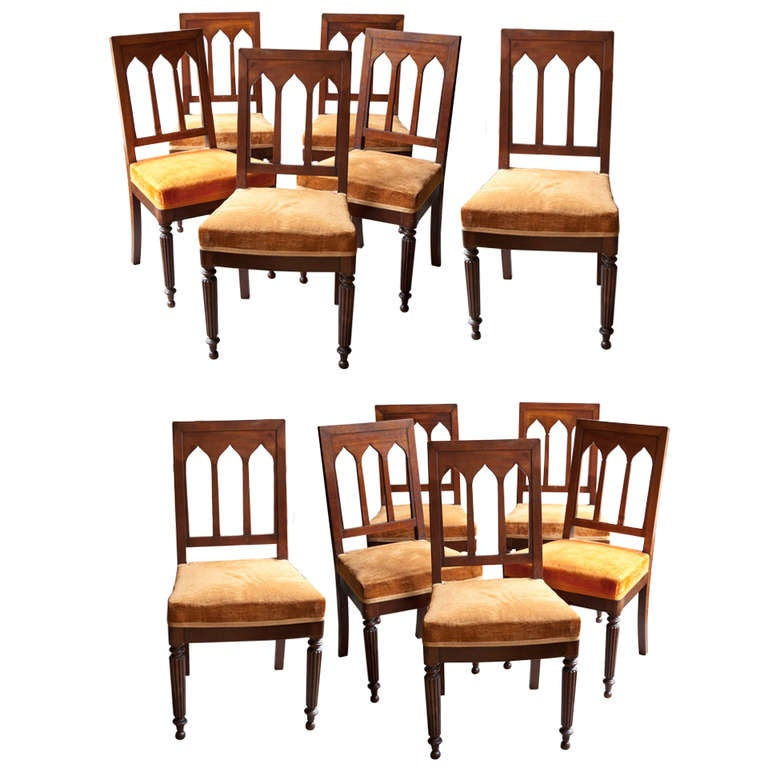 A set of twelve louis philippe mahogany dining chairs at for Mahogany dining room chairs