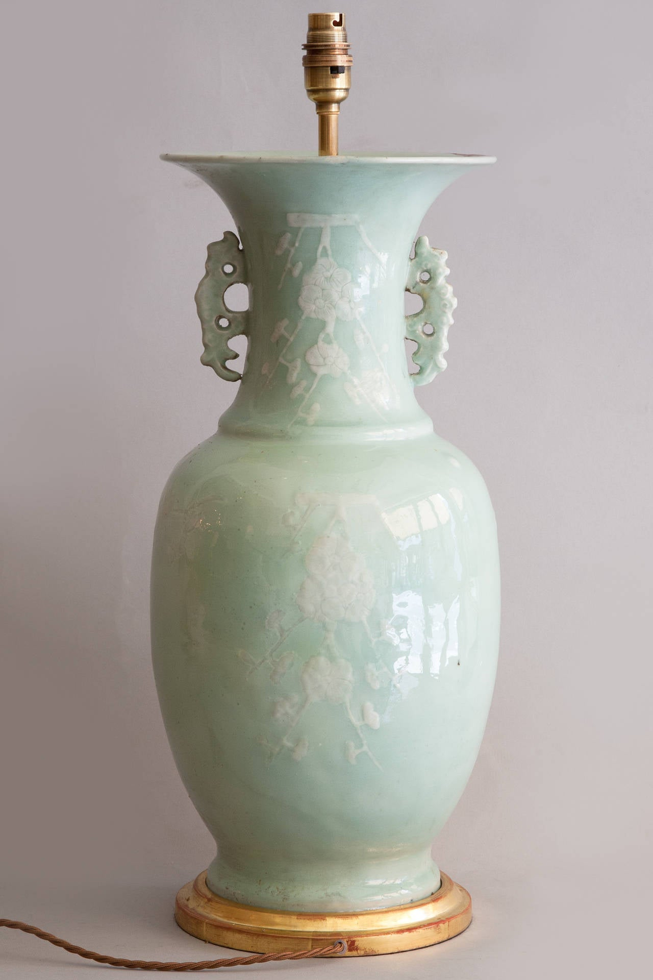 Pair Of 19th Century Chinese Celadon Vases Converted To